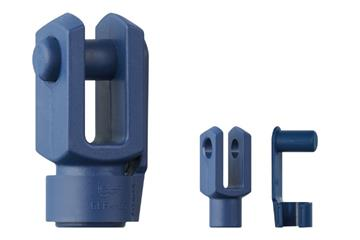 Clevis joint with spring-loaded fixing clip, GERMF-FC, food contact, igubal®