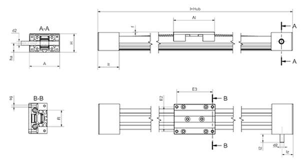 Toothed belt axis ZLW eco Dimensions