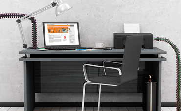 Picture of a desk with an office chain